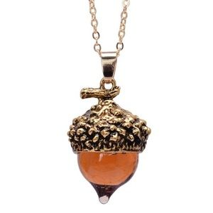 Acorn gold-plated waterdrop glass pendant necklace